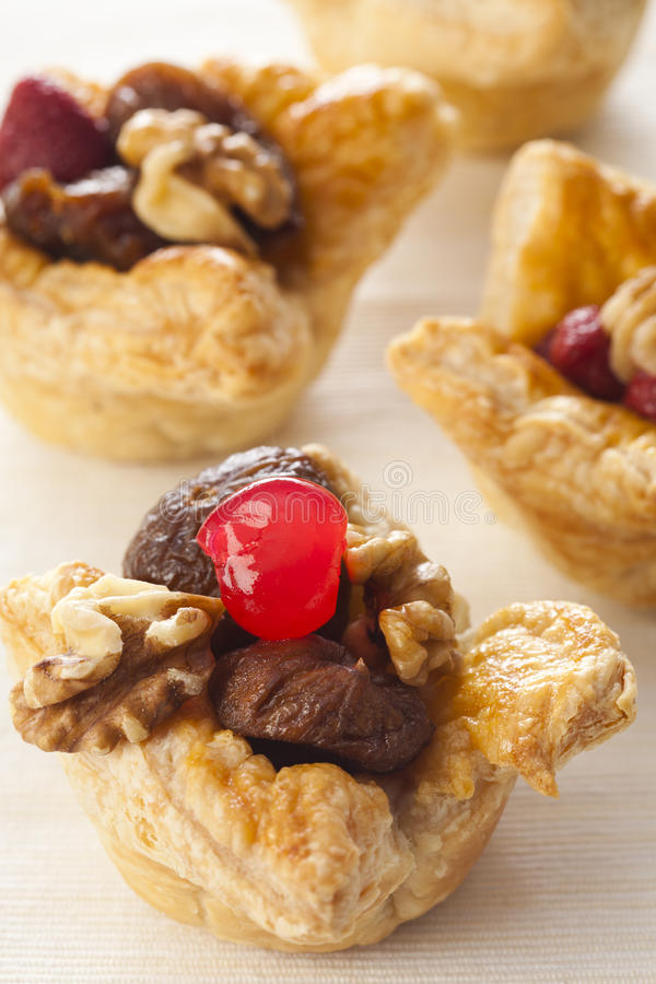 Homemade puff pastry cakes stock image