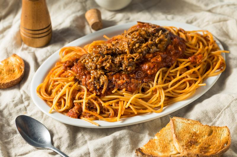 Homemade Pulled Pork Barbecue Spaghetti stock photography