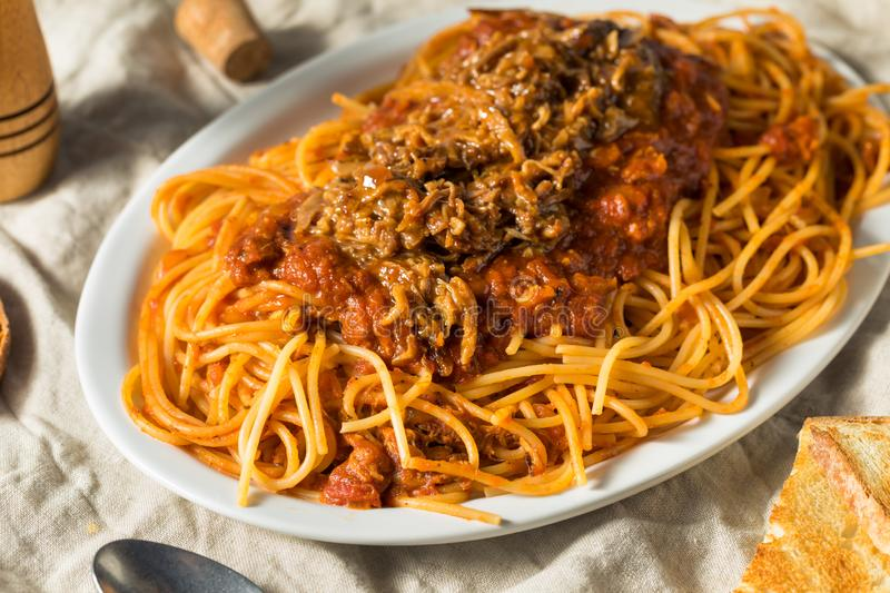 Homemade Pulled Pork Barbecue Spaghetti royalty free stock photo