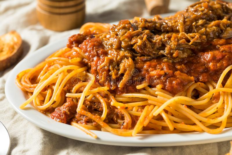 Homemade Pulled Pork Barbecue Spaghetti royalty free stock image