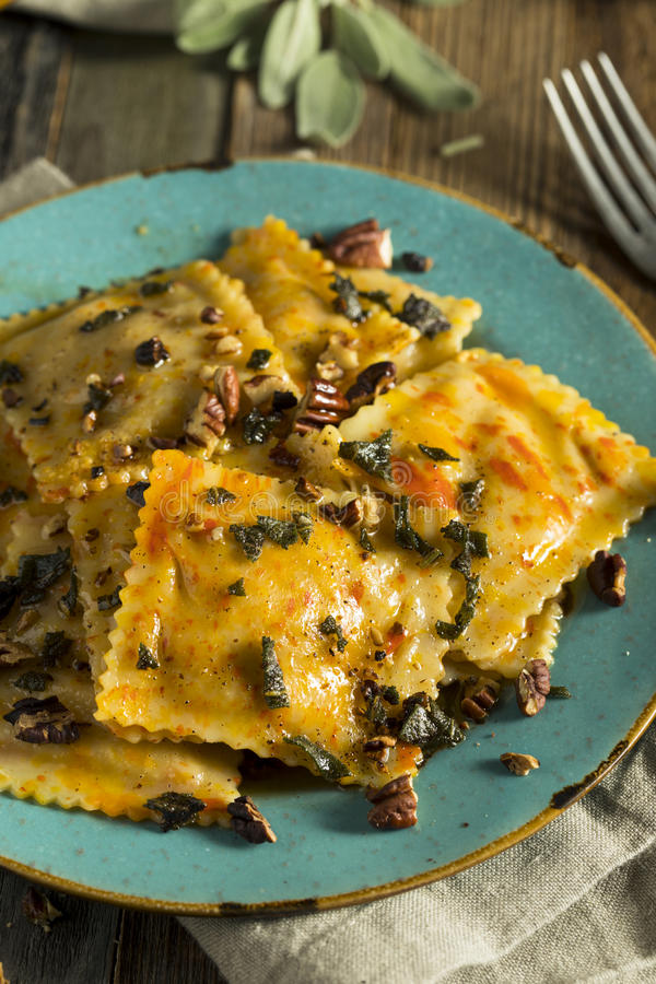 Homemade Pumpkin Ravioli with Butter Sauce royalty free stock photography