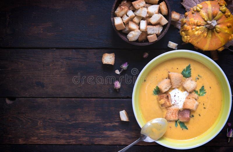 Homemade pumpkin soup stock photos