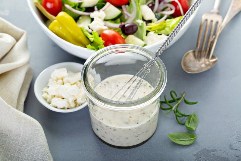 Homemade ranch dressing with feta. Homemade ranch salad dressing with feta cheese stock photo