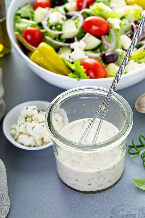 Homemade ranch dressing with feta. Homemade ranch salad dressing with feta cheese stock image
