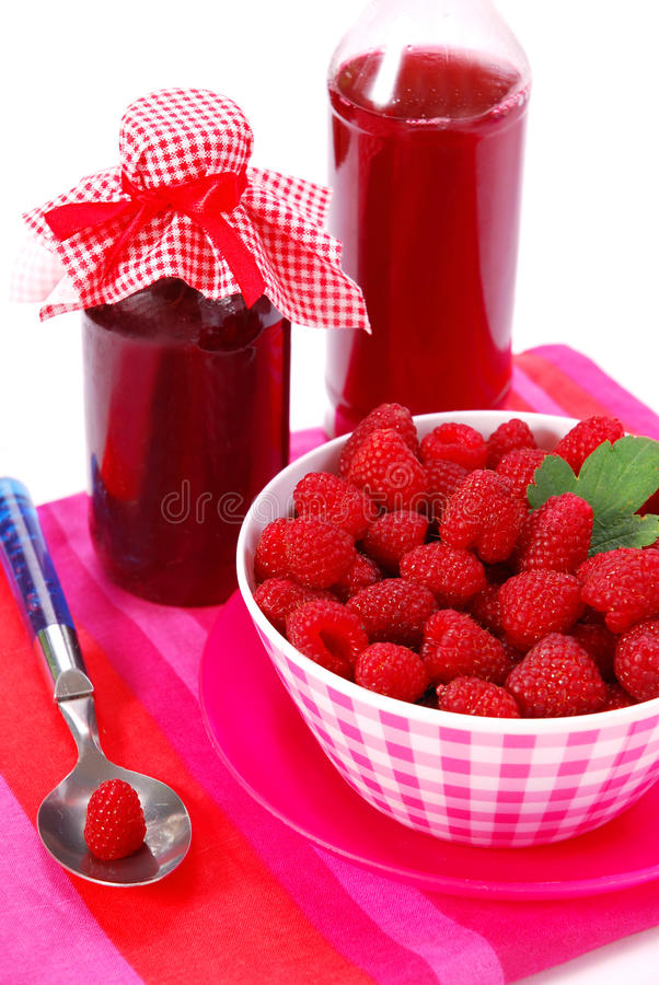 Homemade raspberry,syrup stock images