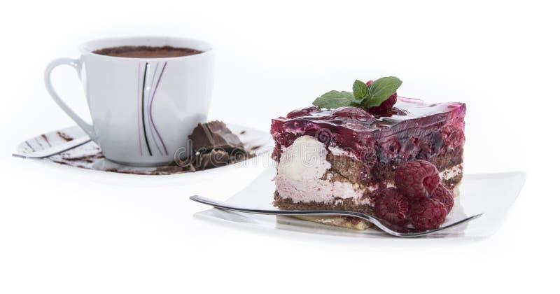 Homemade Raspberry Tart on white stock photos