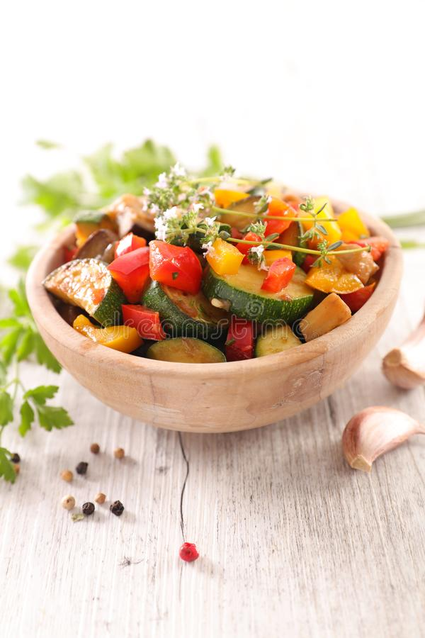 Homemade  ratatouille. Grilled vegetable with rosemary, ratatouille royalty free stock photo