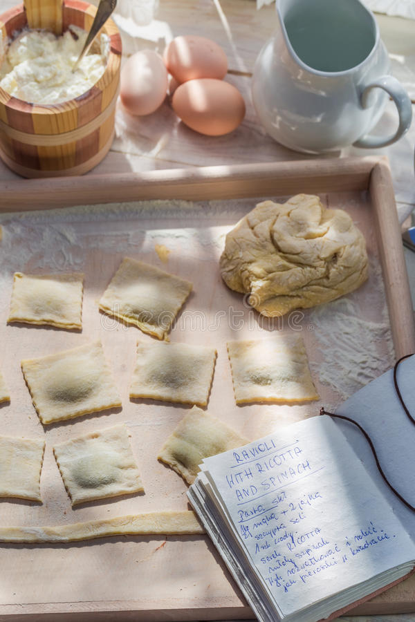 Homemade ravioli made of spinach and ricotta royalty free stock photo