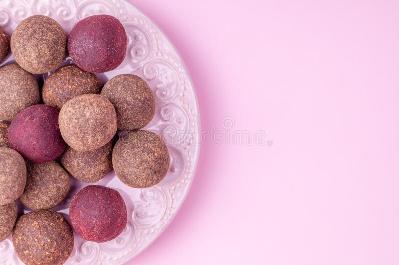 Homemade Raw Vegan Cacao Energy Balls, Healthy Chocolate Candy from Nuts, Dates stock image