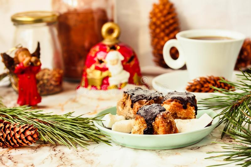 Homemade raw vegan coconut candies in chocolate dessert with ch homemade raw vegan coconut candies in chocolate dessert with christmas decoration on table on bright background festive holidays 2018 happy new year forumfinder Choice Image