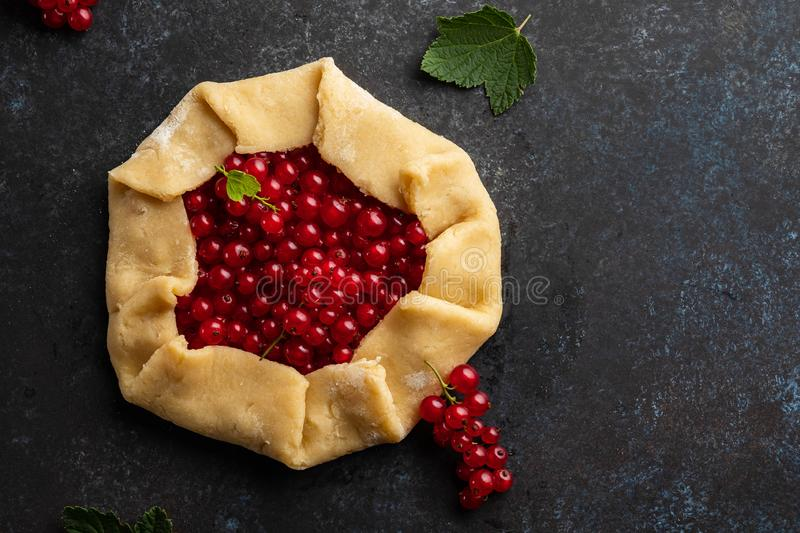Homemade red currants tart with leaves. Vegetarian healthy galette decorated with fresh red currant. Delicious dessert. stock photos