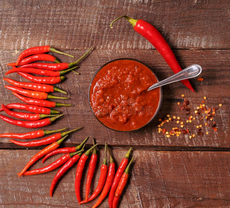 Homemade red Harissa Paste, chili pepper spices and fresh red chilli peppers stock photography