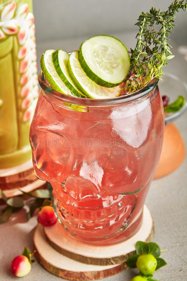 Homemade Refreshing Pink Lemonade with Fruits, Berries Cucumber, Lime and Herbs stock photography