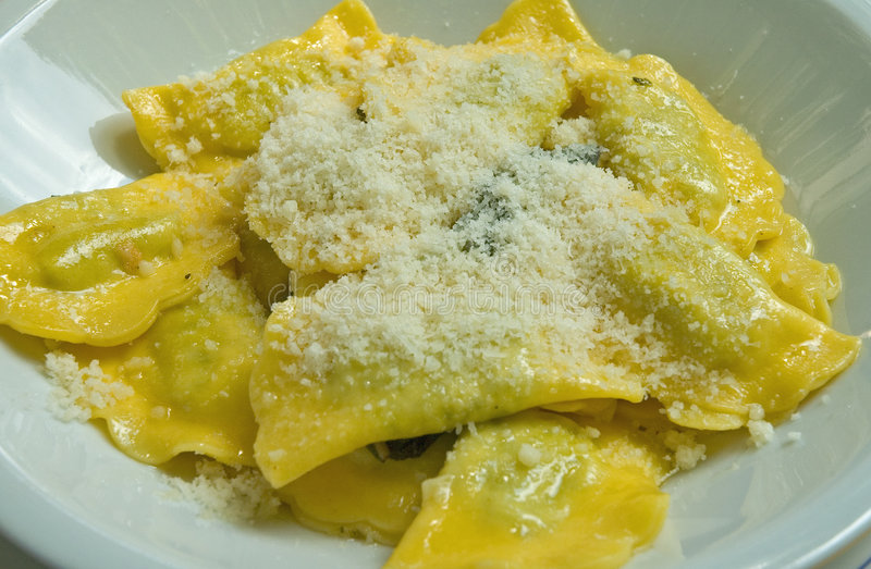 Homemade ricotta cheese filled ravioli stock images