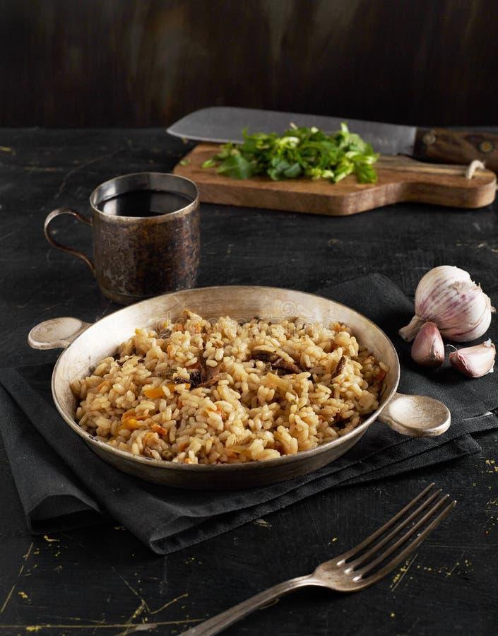 Homemade risotto closeup stock image