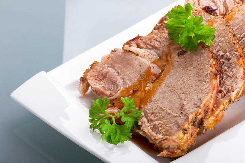 Homemade roast pork close up royalty free stock images