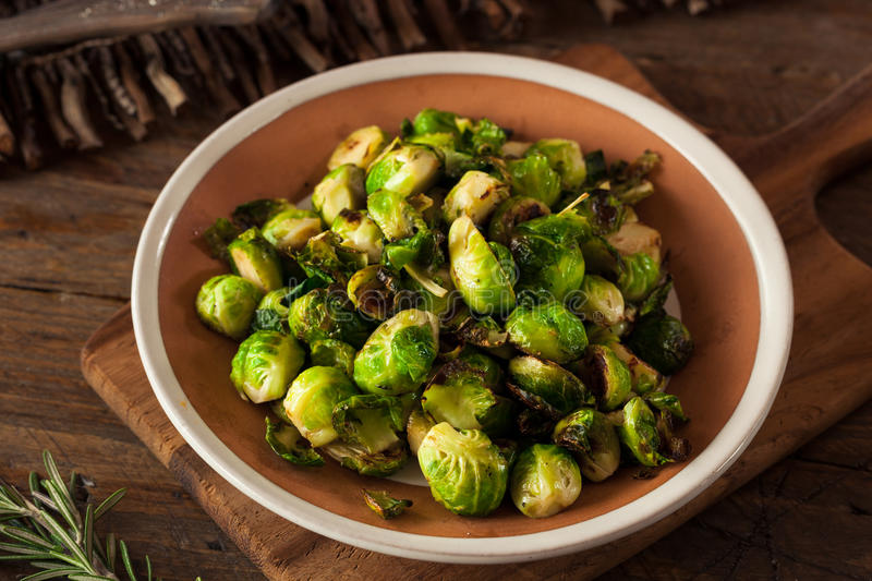 Homemade Roasted Brussel Sprouts. With Salt and Pepper royalty free stock photos
