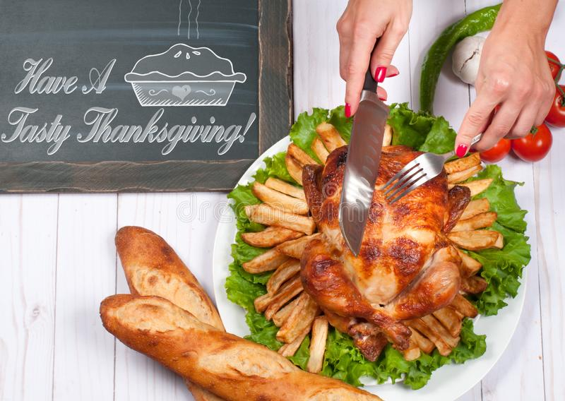 Homemade roasted whole turkey on wooden table. Thanksgiving Celebration Traditional Dinner Setting Food Concept stock image