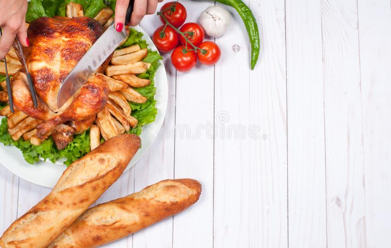 Homemade roasted whole turkey on wooden table. Thanksgiving Celebration Traditional Dinner Setting Food Concept.  stock photo