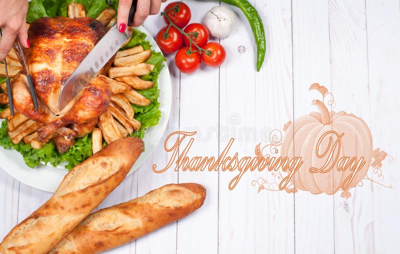 Homemade roasted whole turkey on wooden table. Thanksgiving Celebration Traditional Dinner Setting Food Concept.  royalty free stock image