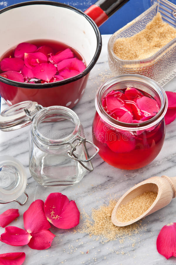 Homemade rose jelly royalty free stock image