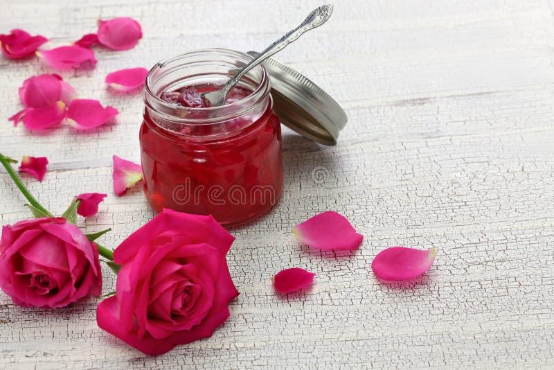 Homemade rose petal jam royalty free stock photo