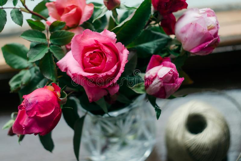 Homemade roses. Bouquet in a crystal vase on a wooden window. The concept of quiet and cozy village life, gardening and environmen. Tal friendliness stock photography