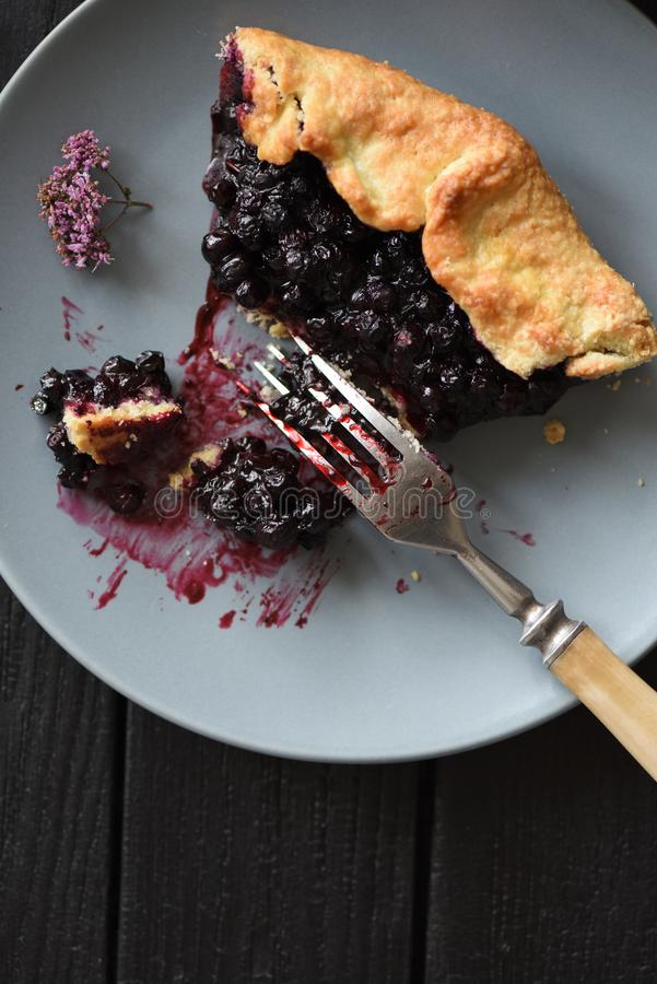 Homemade rustic pie. Delicious blueberry galette in gray plate on dark background copy space royalty free stock photos