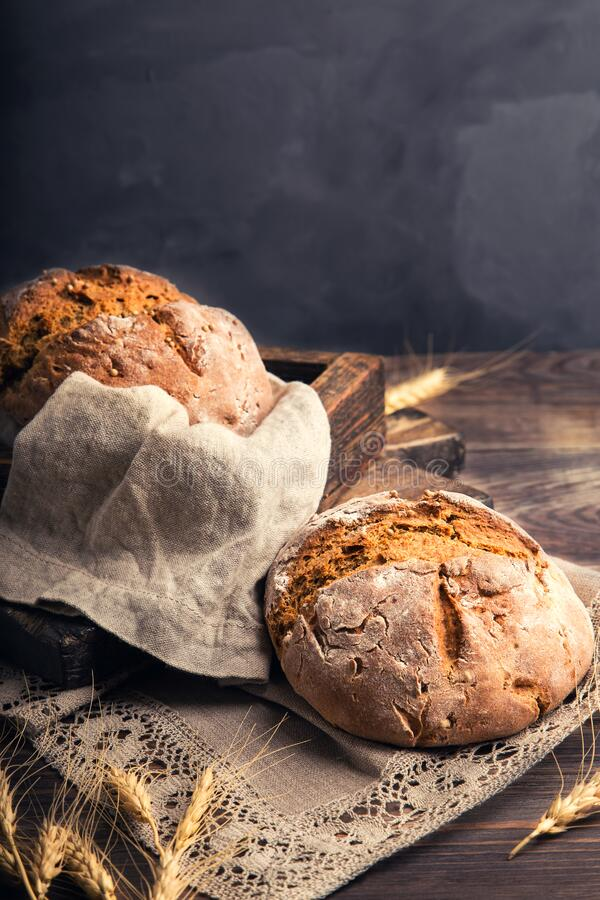 Homemade rustic rye bread with coriander seeds stock photo