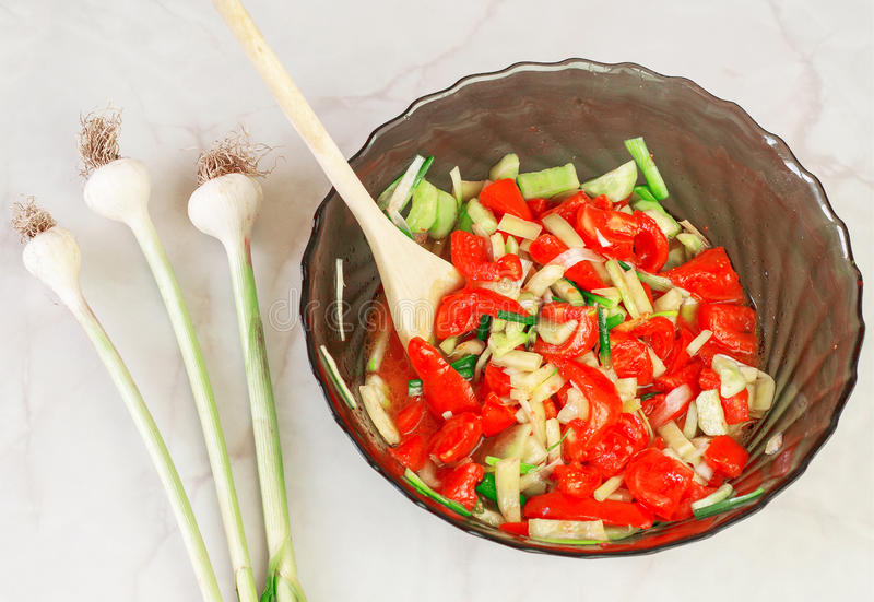Homemade salad. With tomatoes, garlic, onion, cucumbers royalty free stock photo