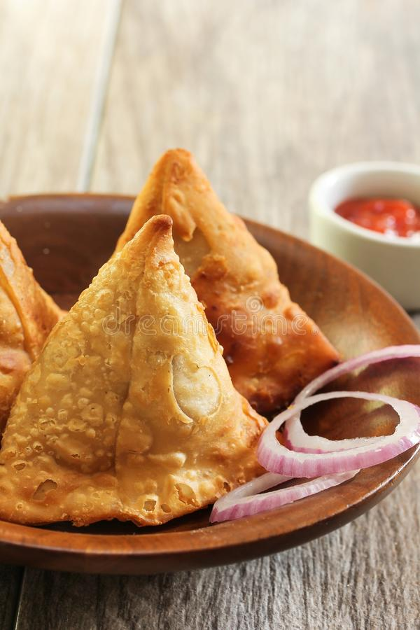 Homemade Samosas Indian Food close up view royalty free stock photo