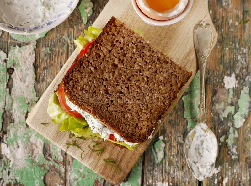 Homemade sandwich from above royalty free stock photo