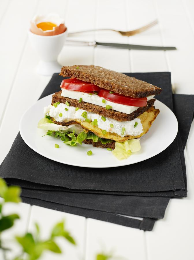 Homemade sandwich closeup stock image
