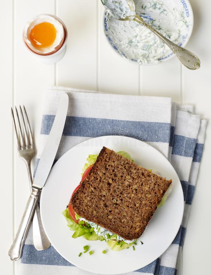 Homemade sandwich and egg royalty free stock images