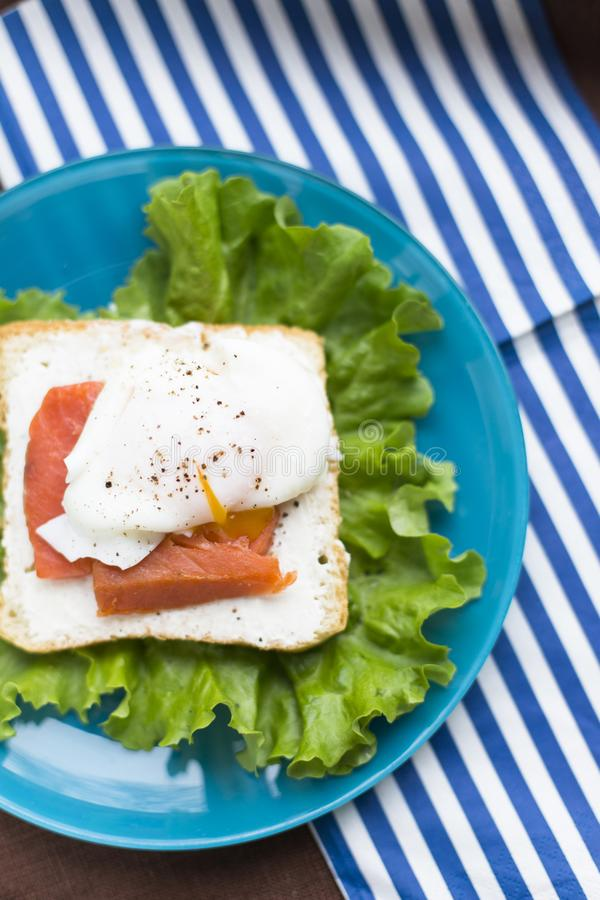 Homemade Sandwich with egg and salmon royalty free stock photography
