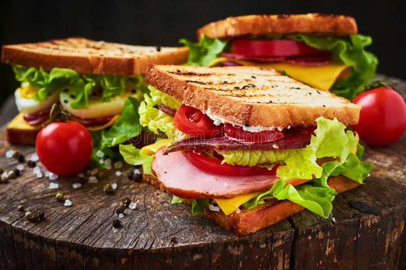 Homemade sandwich with ham, lettuce, cheese and tomato on a wooden background stock photos