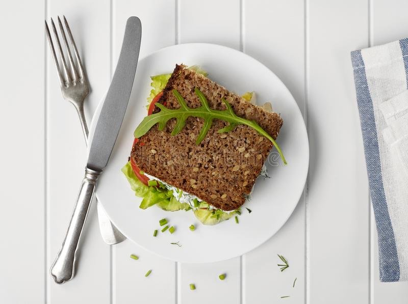 Homemade sandwich from above royalty free stock image