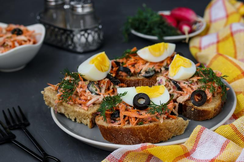 Homemade sandwiches with carrots and radishes, decorated with boiled egg and black olives in a plate against a dark background royalty free stock photo