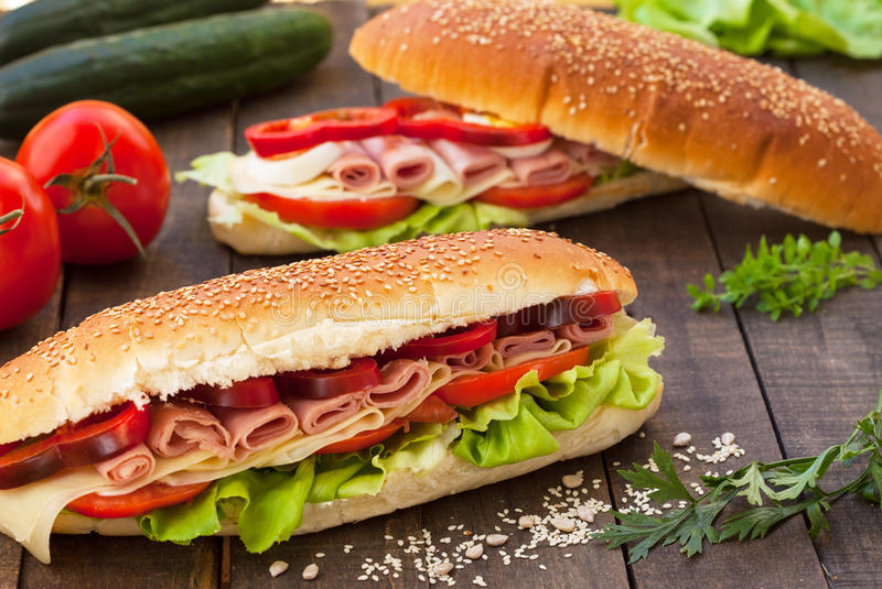 Homemade sandwiches stock images