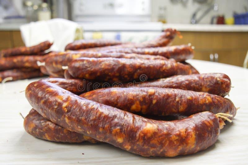 Homemade sausage stock photos