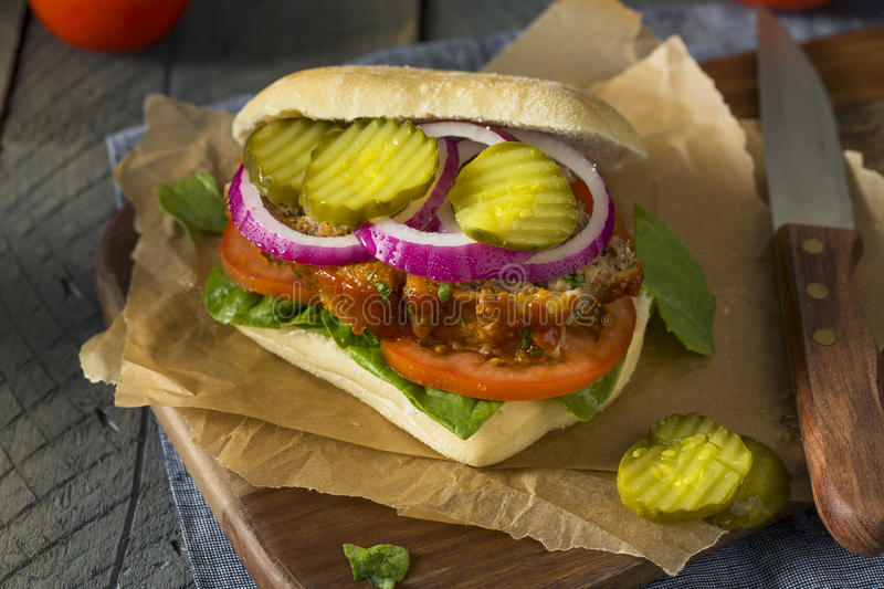 Homemade Savory Meatloaf Sandwich. With Lettuce and Tomato royalty free stock image