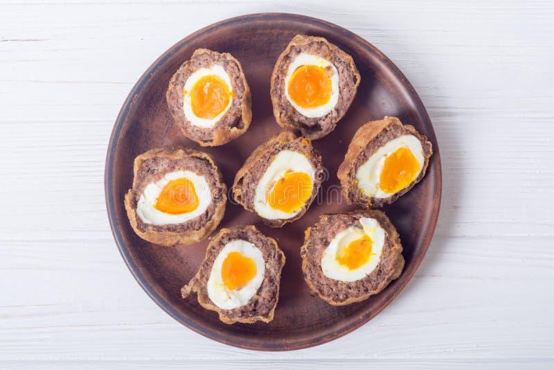 Homemade scotch eggs royalty free stock photos
