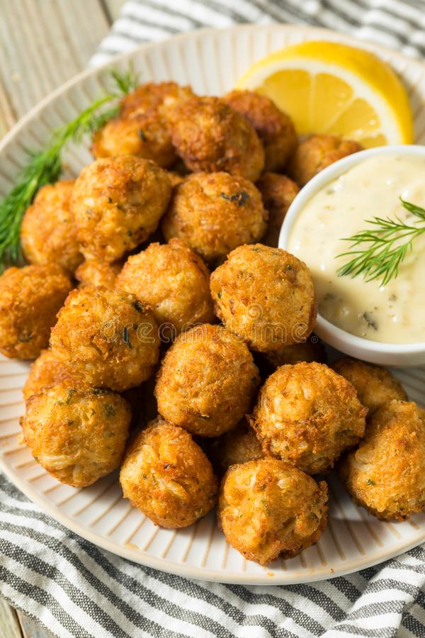 Homemade Seafood Mini Crab Cake Balls. With Tartar Sauce stock images