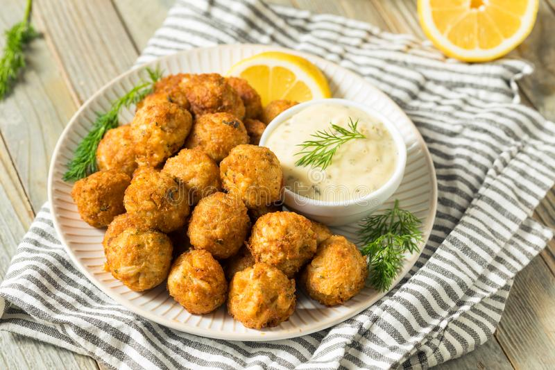 Homemade Seafood Mini Crab Cake Balls. With Tartar Sauce royalty free stock photos