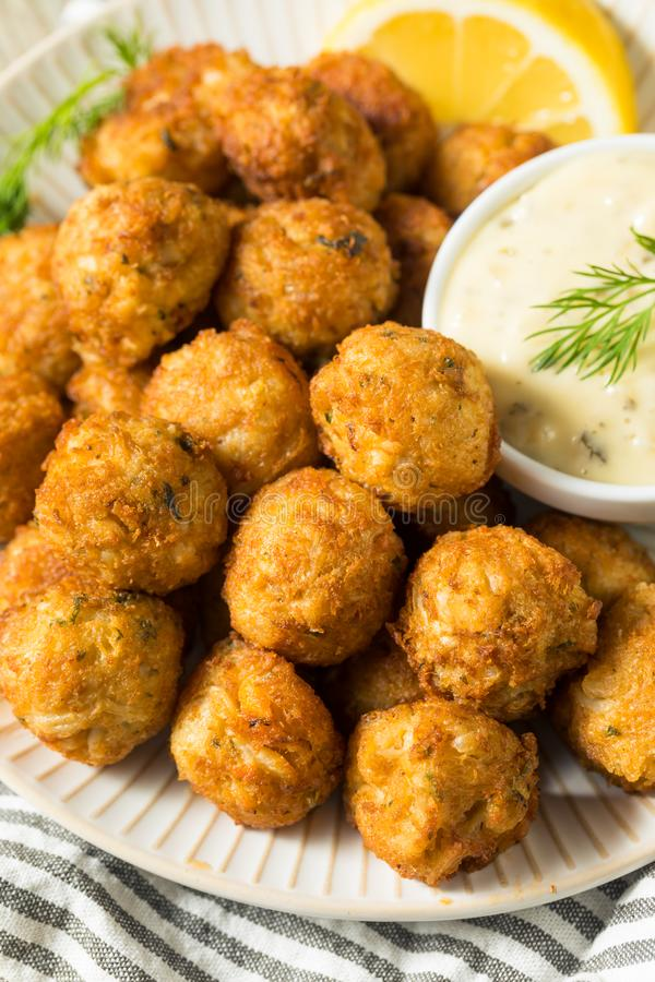 Homemade Seafood Mini Crab Cake Balls. With Tartar Sauce royalty free stock photography