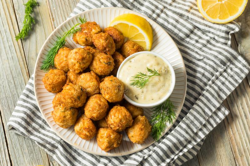 Homemade Seafood Mini Crab Cake Balls. With Tartar Sauce stock photo