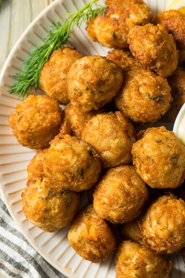 Homemade Seafood Mini Crab Cake Balls. With Tartar Sauce royalty free stock photo