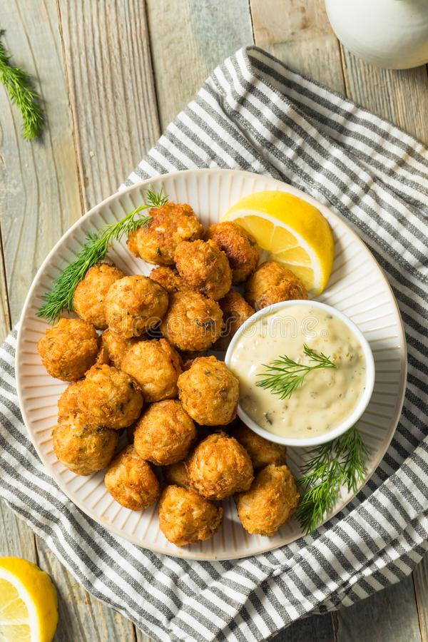 Homemade Seafood Mini Crab Cake Balls. With Tartar Sauce stock photography