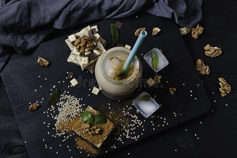 Homemade sesame burfi. Raw healthy vegan dessert. royalty free stock images