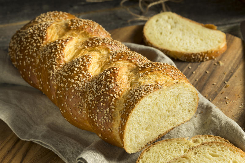 Homemade Sesame Challah Bread. Ready to Eat royalty free stock images